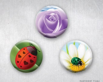 Graphic Garden, Ladybugs and Flowers, Pinback Buttons, Original Art Design, 1.25 inch, Set of 3