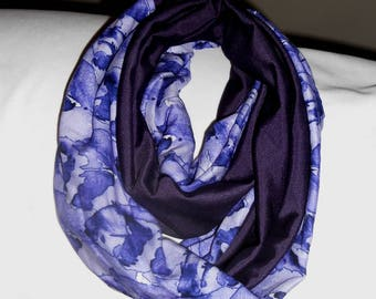 Navy blue and print infinity scarf