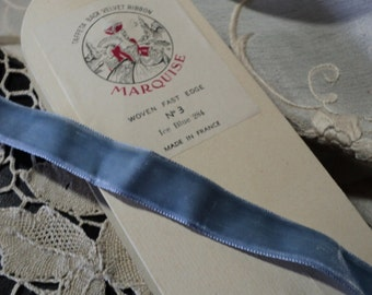 "Vintage Velvet Ribbon Trim ""ice blue"" Made in France Yardage available"