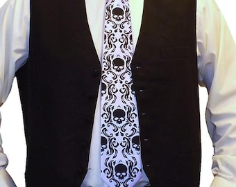 RokGear Skull Damask print - 8 Mens ties and 1 Boys matching necktie Print to order in colors of your choice