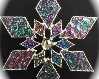 stained glass snowflake suncatcher (design 1)
