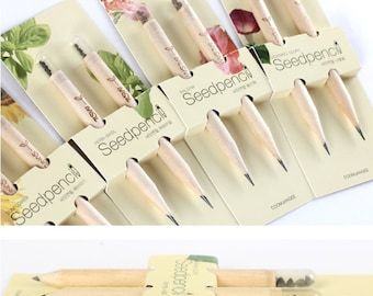 Sprout Pencil Gift Set, 5 Pack(10 pcs), Mini Pencil With Sprout - Basil, Sunflower, Cherry tomato, Morning glory, Garden balsam