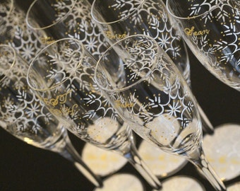 Snowflake Wedding Party Champagne Glasses, Set of 7 Toasting Flutes Bridesmaids Groomsmen Maid Matron of Honor Best Man - White Pearl Gold