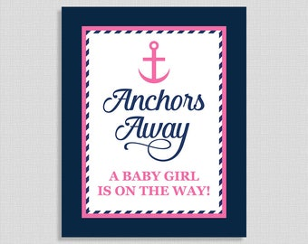 Anchors Away Sign, Nautical Navy & Pink Shower Sign, Baby Girl Shower,  INSTANT PRINTABLE