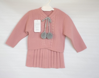 Baby Girls Dusty pink and grey spanish style knitted skirt cardigan set pompom ties