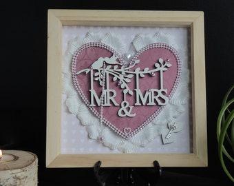 Bride and Groom Wedding Frame, Mr&Mrs 3d Wedding Frame, Wedding Gift, Shadow Box,