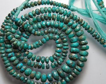 15 Inches Long, Natural Arizona Sleeping Beauty Turquoise Faceted Rondelles, 9-5mm