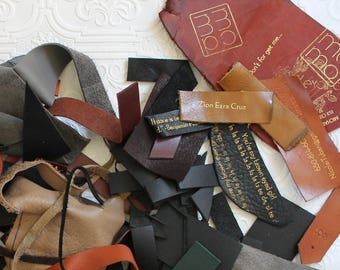 Leather scraps, leather cuttings, hide scraps, leather remnants, leather craft,  Leather trimmings, various leather remnant, assorted scraps