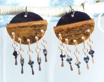 Copper earrings, Chandelier, Queen, Shields, Strong, Powerful, Patina-ed, Fold formed, Big, Classical, Diva, Fierce, Wild, Artsy