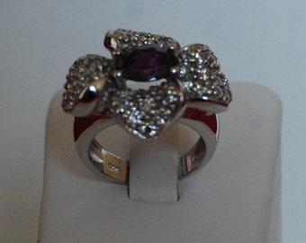 Sterling Silver ring 925 Amethyst creation oxide of zirconium flower shape