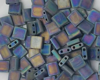 MATTE  BLACK AB Tila Miyuki 5MM 7.2Grams /84 beads, TL401FR(19)