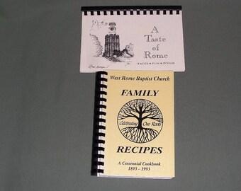2 Vintage Georgia Church Cookbooks   Family Recipes Church Cook Book   A Taste of Rome GA Cookbook   Dessert, main dish, vegetable recipes