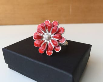 Large Red Flower Ring   Large Ring   Red Ring   Flower Ring   Red Flower Jewelry   Floral Jewelry   Statement Ring   Gift for Her