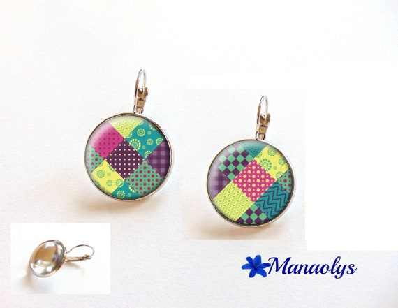 Colorful earrings, Leverback multicolor patchwork, colorful earrings, cabochons glass 3429