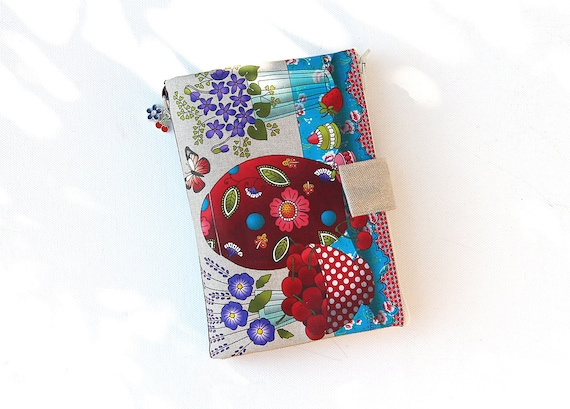 """Bag Organizer / multipoches illustrated natural linen """"cherry & purple"""""""