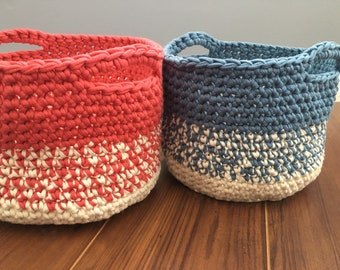 Basic Basket PDF Pattern - Crochet Basket Pattern - Basket with Handles - Beginner Crochet Basket Pattern