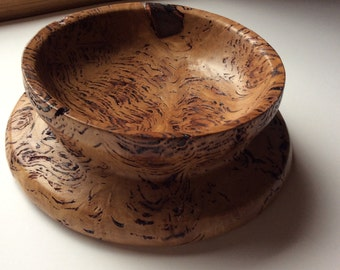 Woodworking. Figured eucalypt hand turned bowl. Textured bowl.Australian timber bowl.