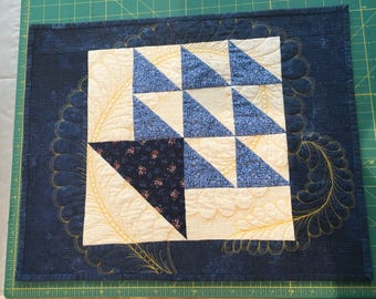 "Blue and Cream table topper; mug rug; quilted placemat; heirloom quilted topper; 15 1/2"" x 19"""