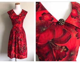 Vintage 1950's 60's Red Hawaiian Dress Tropical Floral Hibiscus Flower Full Skirt Handmade Dress Cotton Summer Luau Party Dress Size Medium