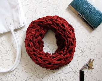 Red Chunky Knit Infinity Scarf, Cowl