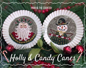 Holly & Candy Canes Punch Needle Pattern