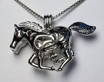 Silver Plated Horse Cage Pendant
