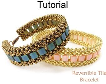 Miyuki Tila Bracelet Beading Pattern - Beaded CRAW Cubic Right Angle Weave Tutorial - Simple Bead Patterns - Reversible Tila Bracelet #26894