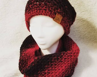 Red and Beanie and Infinity Scarf