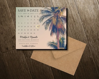 Palm Tree Save the Dates, calendar magnets, beach, summer, personalized, wedding, save the date magnets, save the dates + Envelopes