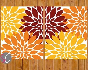 Fall Floral Wall Art Flower Burst Decor Bedroom Bathroom Family Room Living Room Set of 2 8x10 JPG Files Printable Instant Download (153)