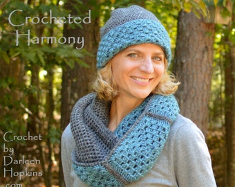 Crochet Pattern Hat and Cowl Matching Hat and Cowl pattern Matching set crochet pattern Easy Crochet Pattern Harmony INSTANT PDF DOWNLOAD