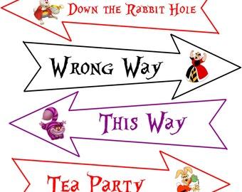 Alice in Wonderland 8 original cartoon images on party arrows