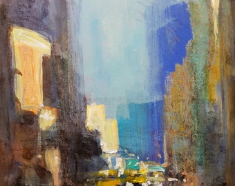 New York Series D #3; Original Mixed Media on Mount Board Painting