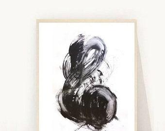 Abstract Art Print, Giclee Print, Black and White Art, Wall Art, Minimalist Art, Home Decor, Scandinavian Art,  Wall Decor, Black Abstract