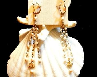 Carolee Chandelier Earrings, Vintage Carolee Pearl Earrings, 1970 Chandelier Pearl Earrings, Gift For Her