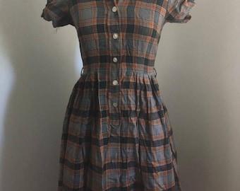 """1950s Plaid flannel shirt dress SW S 26"""""""