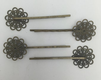 8 fancy bobby pins ready to decorate with fillagree accents in antique bronze