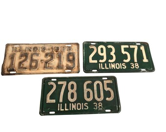 Illinois License Plate Vintage 1935 and 1938 - Bar Decor - Man Cave Wall 1930s 30s Primitive Rustic IL Green Yellow