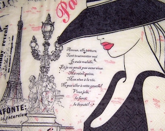 442 beautiful lady de PARIS 1 33 X 33 X 4 design paper napkin
