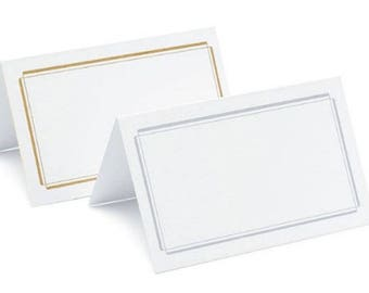 Wedding Place Cards - Pack of 50 - Silver or Gold Double Border Tent Style Folding Placecards Reception Seating Cards MW15322