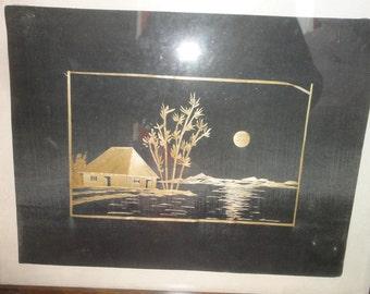 Vintage Wood Fiber Painting/ House/Trees/Mountain/Moon