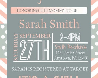 baby girl shower invite digital download
