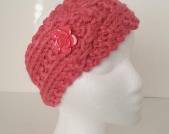 Dusty Rose Knitted headband, ear warmer, winter accessories, fashion accessory, womens fashion