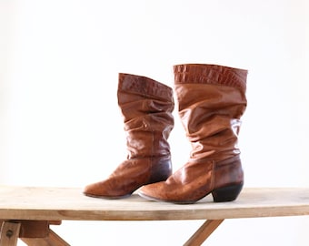 Vintage Whiskey Leather Slouch Boots Sz 7