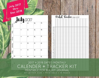 2017 + 2018 Monthly Printable Calendar + Habit Tracker Kit for Bullet Journal, Moleskine + Leuchttrum