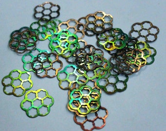 25 pcs Rainbow Color /Metallic /Flower sequins/Supplies/ Code PBF454
