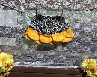 Damask and Yellow Petal Skirt