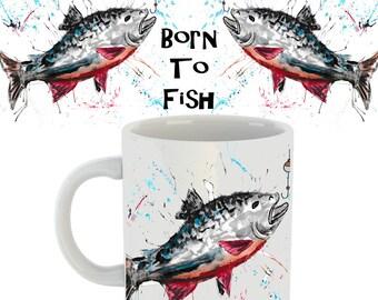 Born to fish mug, fishing gift, Born to fish, fishing, fish, ceramic mug, animal mug, fishing mug, gift for dad