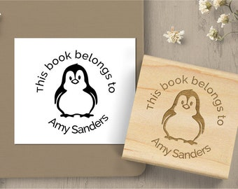 Penguin Bookplate Stamp, Book Lover Gift, Book Name Stamp,  Teacher Classroom Stamp, Personalized Book Stamp, Notebook Rubber Stamp 192
