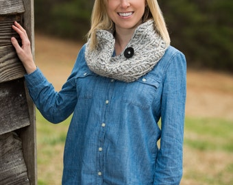 Chunky Button Cowl Scarf - Marble Gray Tweed